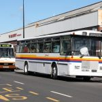 New Zealand Bayline bus and Cardiff Clipper Bus at The Bus Depot, Barry (TThomas)