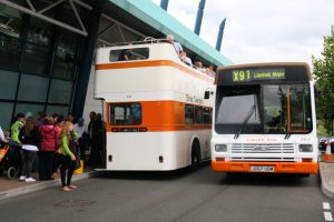 Two former Cardiff buses giving free rides yesterday 1964 Guy Arab V no 434 and 1991 Lynx no 267