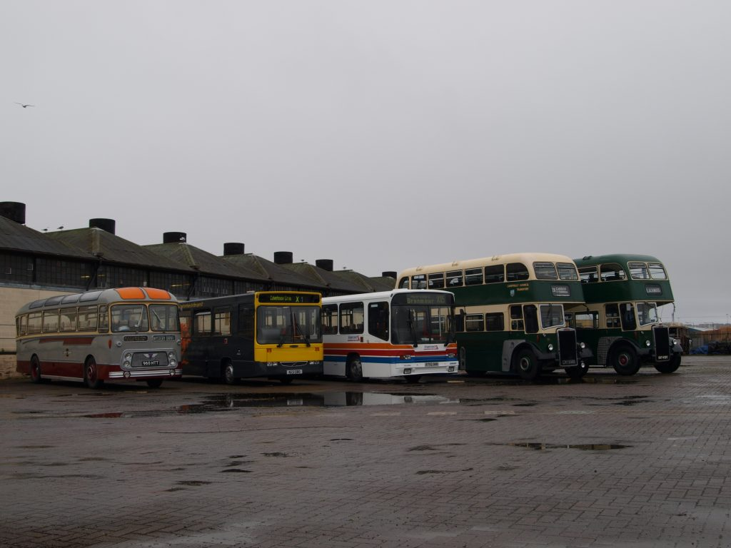 The lineup of buses at the beginning of the day
